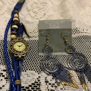 Brand new watch and earrings.